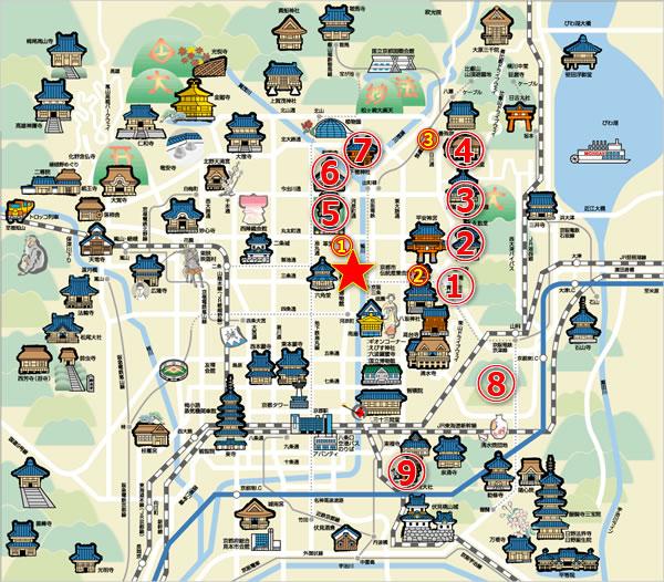 京都・東山周辺の紅葉マップ