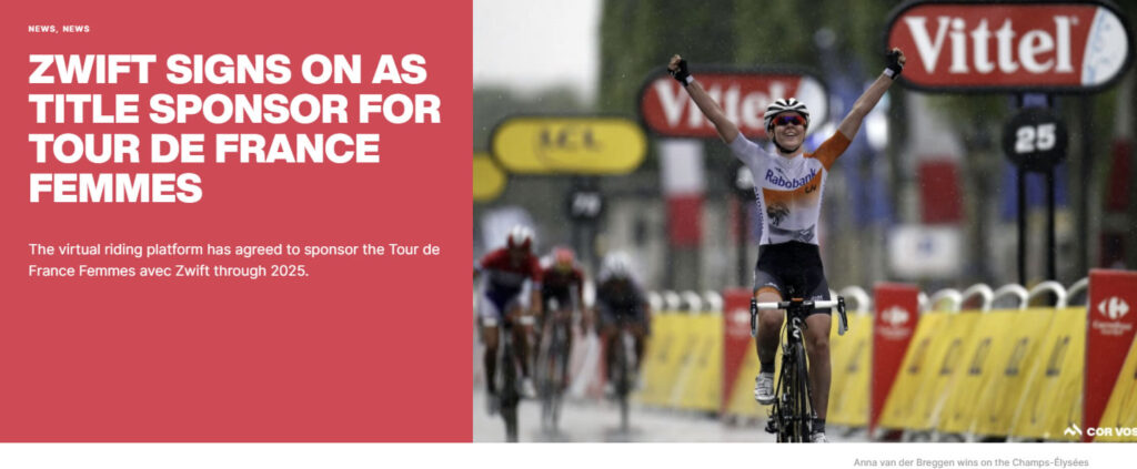 ZWIFT、Tour de France Femmesの看板スポンサーに!