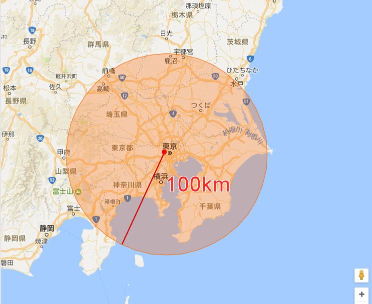 片道100kmだと伊豆半島まで行ける!