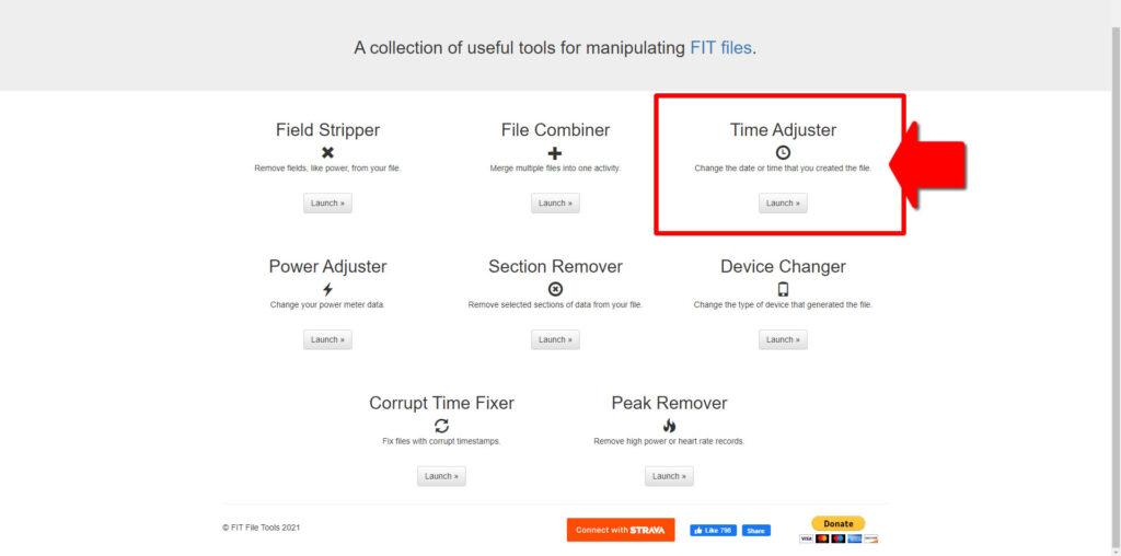 https://www.fitfiletools.comの「Time Adjuster」を選択