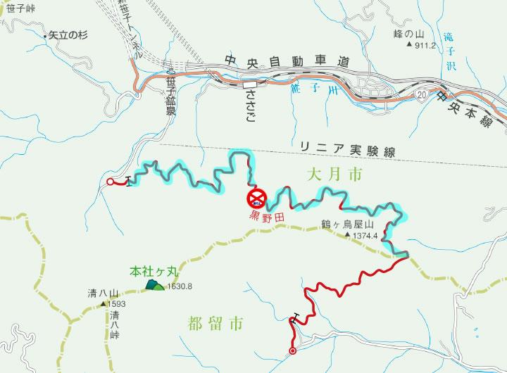 林道黒野田線は通行止めでした