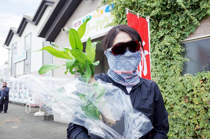 パンジーハウスで観葉植物を買うローディー