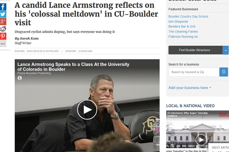 コロラド大学で講演したランス・アームストロング