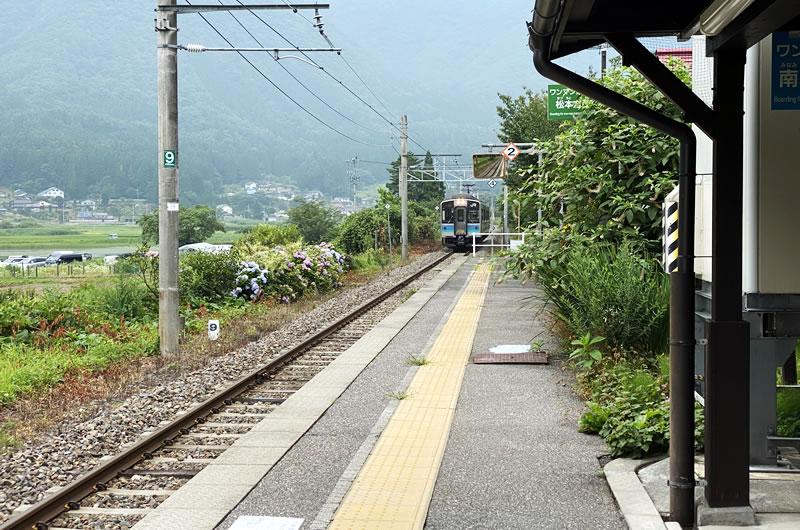 運よく、海ノ口駅に電車が入ってきた