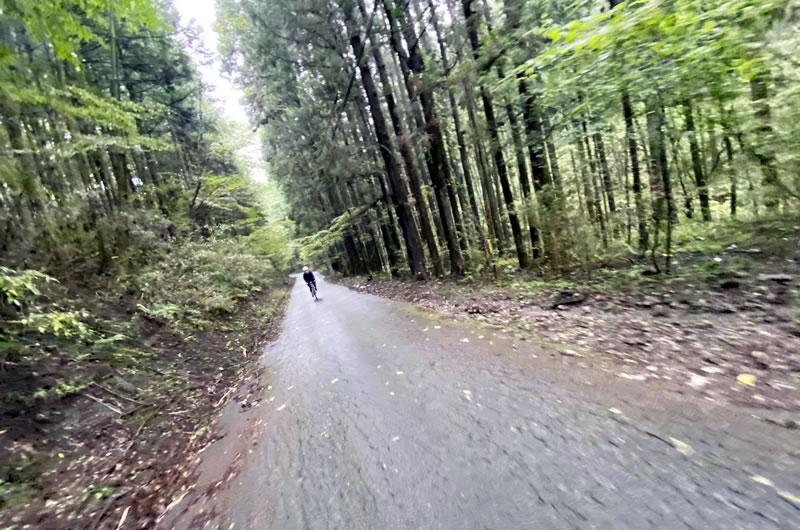 榛名山の林道を駆け抜ける