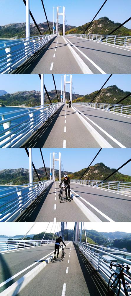 ロードバイク男子、橋が怖くて自転車を押して歩く