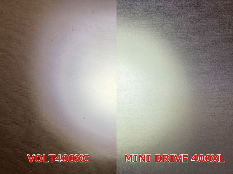 MINI DRIVE 400XLとVOLT400XCの最大光量で比べてみた