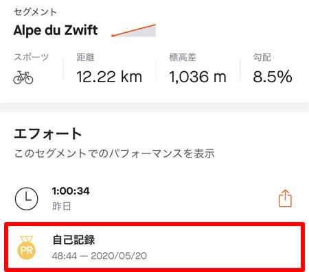 Alpe du Zwiftは自己ベストから12分落ち