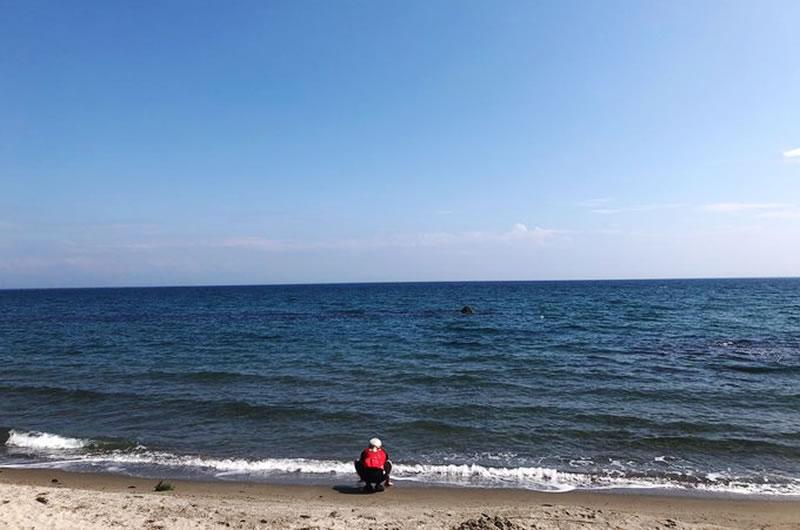 富山湾を望む能登町の海