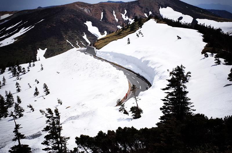 ターマックで渋峠の雪の壁を見てきた