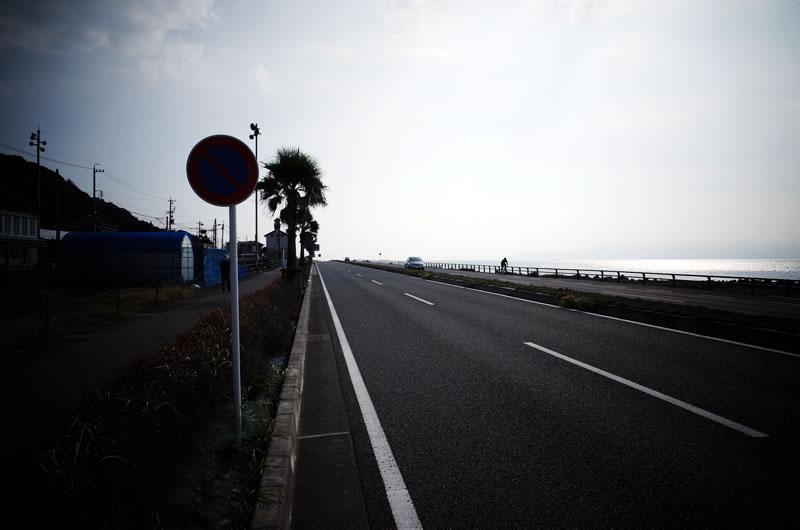 太平洋沿いを一直線の道が延びていて、ロードバイクには爽快