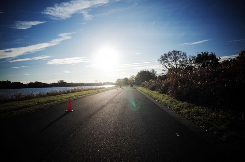 彩湖の追い風区間。45km/hも楽勝