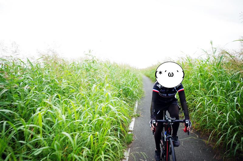 久々のサイクリングでニッコニコのデゲンコさん