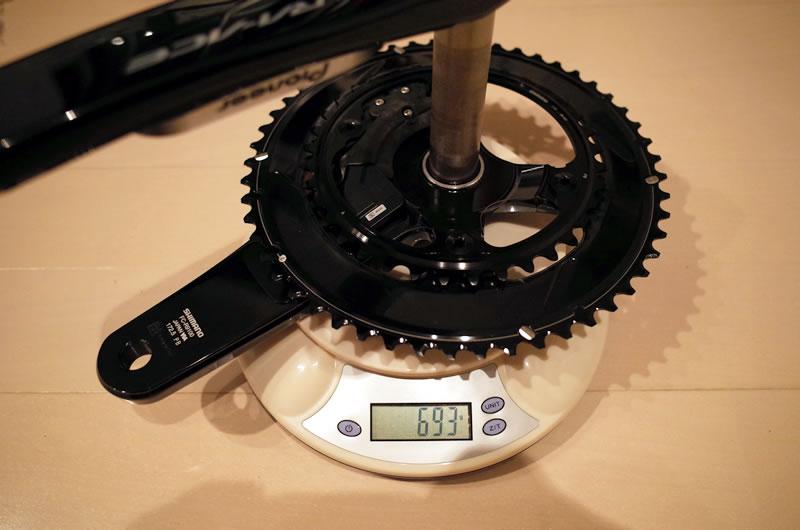 デュラエースFC-R9100 クランクセットの重さは693g