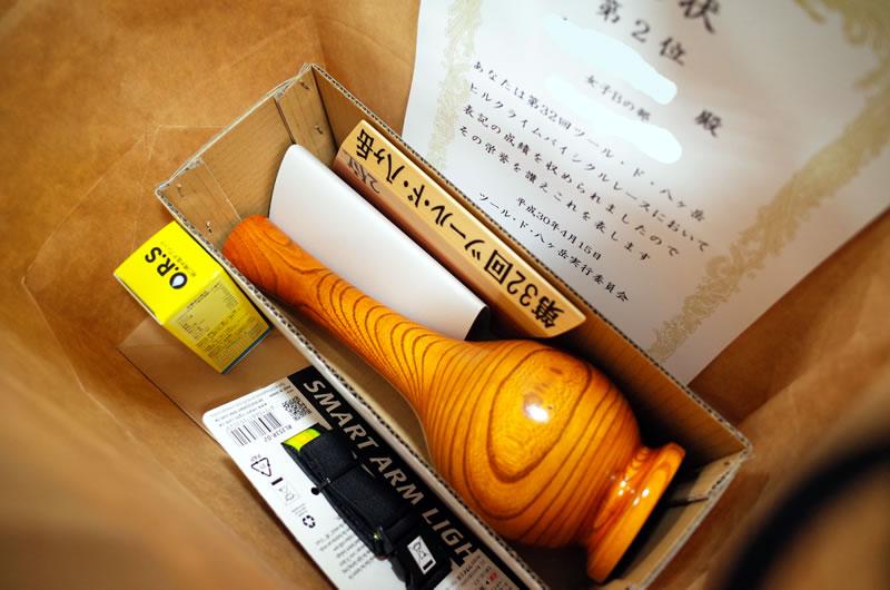 ツール・ド・八ヶ岳の木製のトロフィー(一輪挿し)カッコイイな(゚∀゚)
