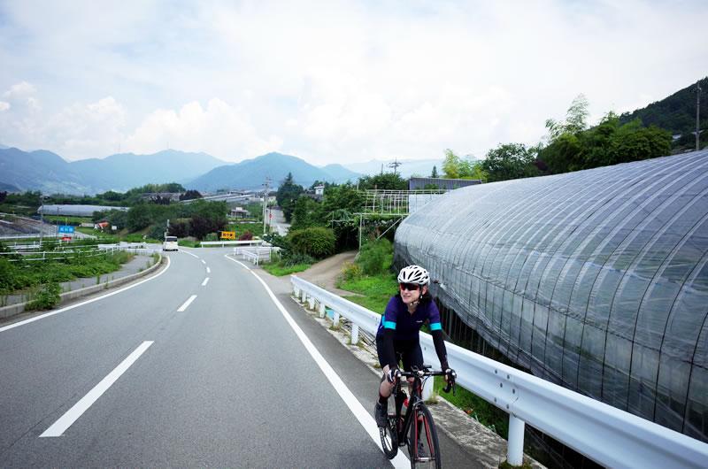 甲府盆地を一望できるフルーツラインはサイクリングにお勧め