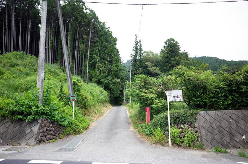 駅前からまっすぐ林道が伸びています