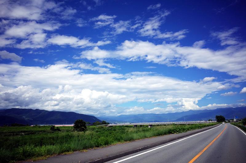 甲府盆地から富士川方面へ。