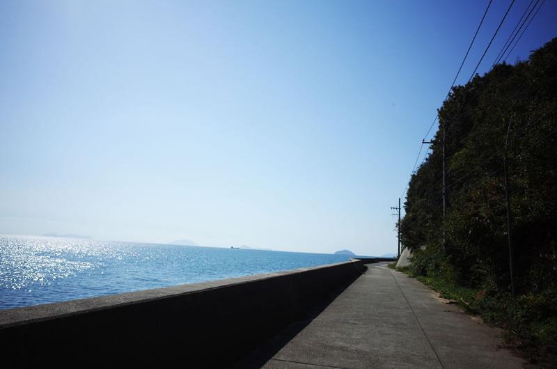 田島の海岸線を自転車で走る