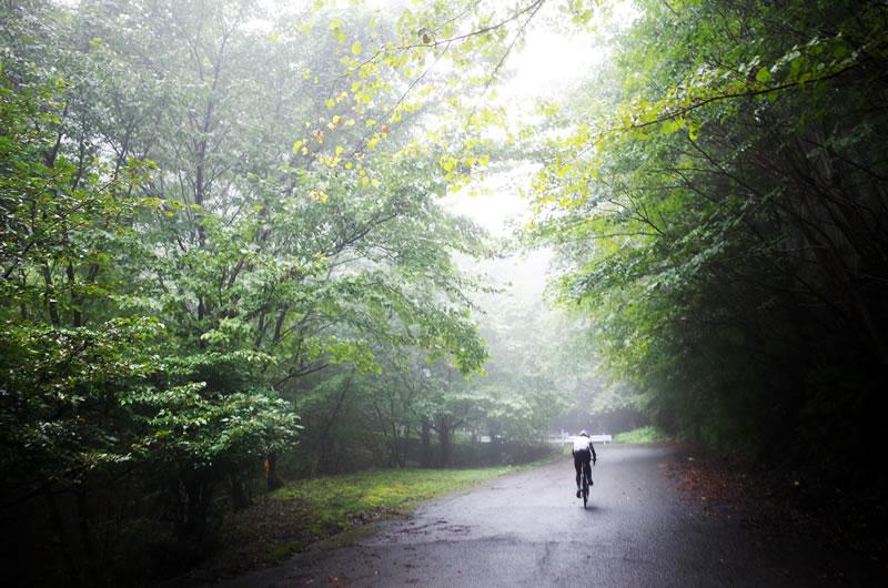 霧深い有間峠を力強く上るロードバイク女子