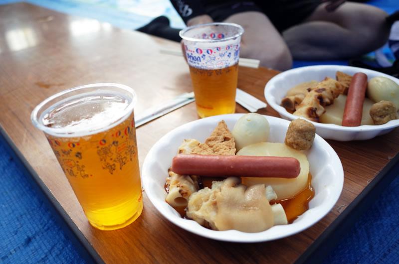 アフターパーティーの料理とビールがとにかく美味しい(*´ω`)