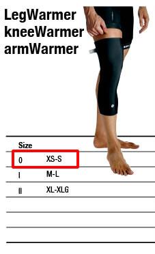 アソス代理店のレッグウォーマーのサイズチャート