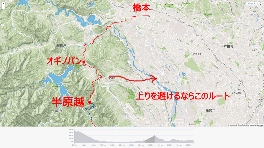 半原越が通れるようになったことで自転車ルートが大幅に拡大