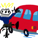 事故再現イメージ①(車が急左折)