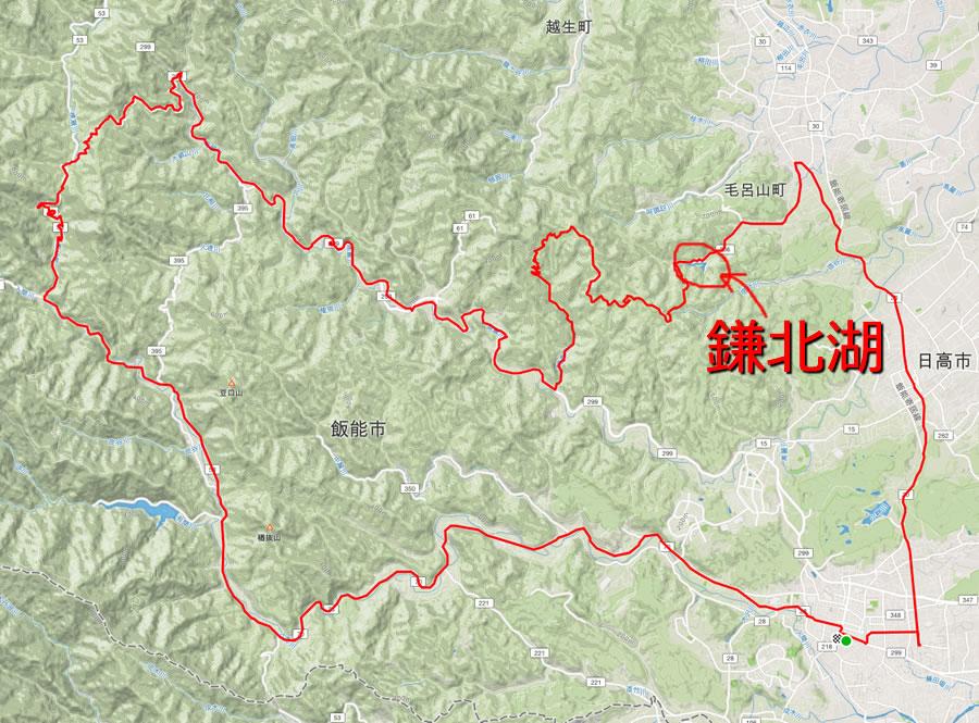 鎌北湖はここら辺