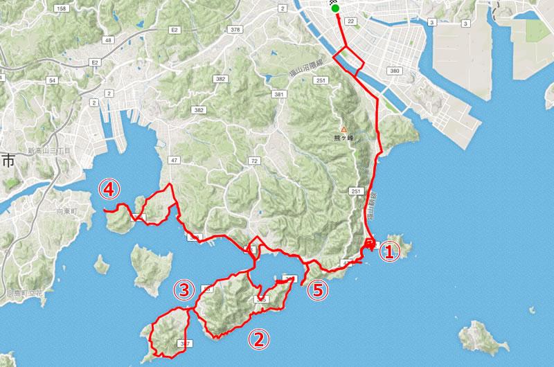 グルっと満喫、福山市の南側探検ルート