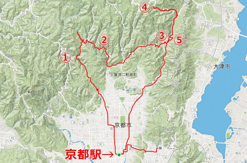 京都サイクリングのルート