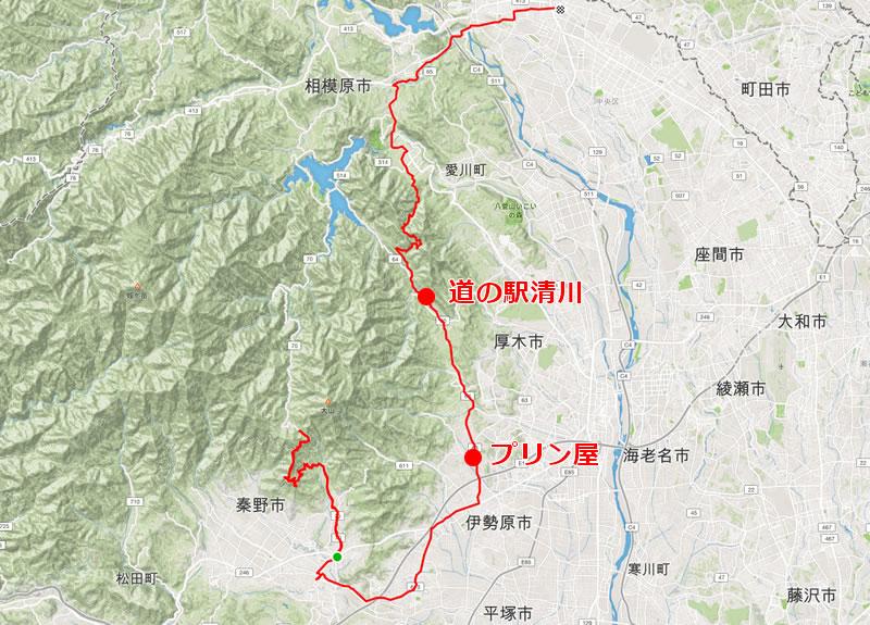 ヤビツ峠とShare,道の駅清川の位置関係