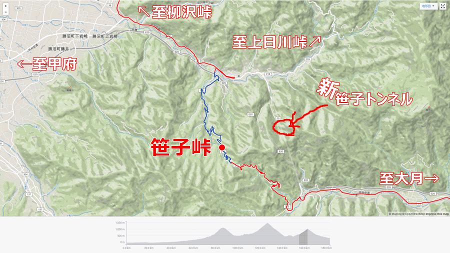 笹子峠の位置関係のおさらい