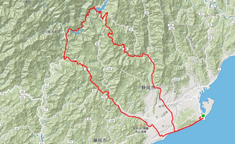 これ(ほぼ)静岡市な140km、2,000mのルート