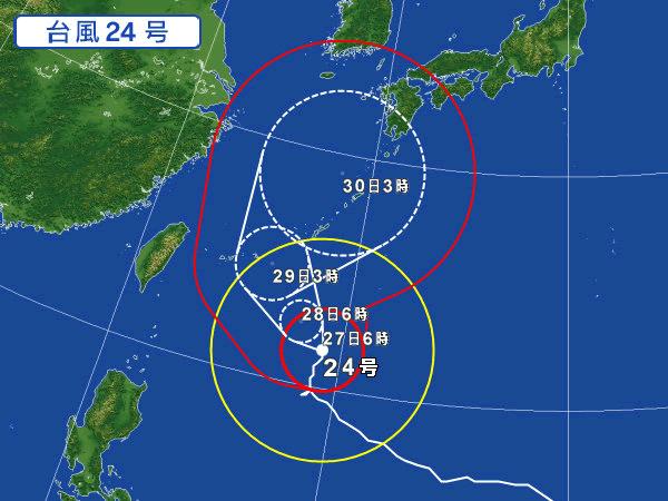 2018年9月最後の週末を蹂躙する予定の台風24号さん