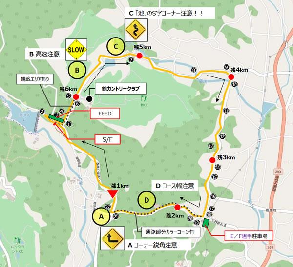 JBCF宇都宮ロードレースのコースマップ